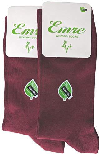 Maroon Womens Socks - 2 Pairs Emre Bamboo Seamless Casual Dress Socks (Maroon)