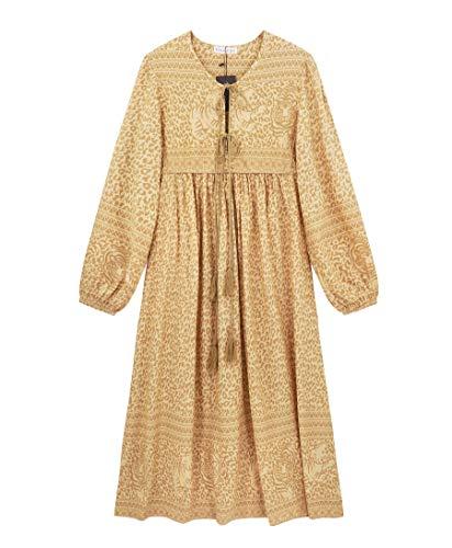 R.Vivimos Women's Long Sleeve Floral Print Retro V Neck Tassel Bohemian Midi Dresses (XS, Yellow)
