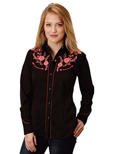 Roper Floral Shirt - Roper Western Shirt Women Floral L/S Snap XL Black 03-050-0040-0195 BL