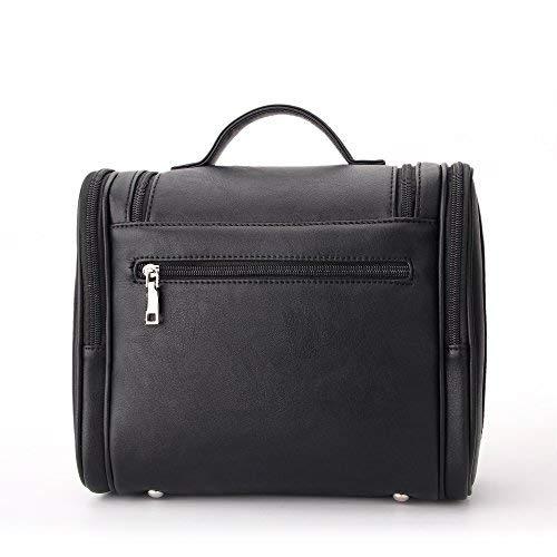 Avigo Bags Multi Pocket Hanging Leather Toiletry Organizer Bag Dopp Kit   Black