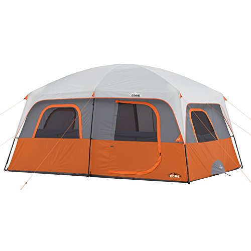 CORE 10 Person Straight Wall Cabin Tent (Orange) - Four Seasons Family Ring