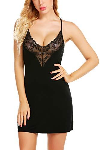 wearella Women Sleepwear Full Slip Strap Nightgown V Neck Chemise Mini Lace Cross Back Babydoll