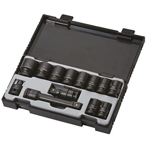 JBM 52341 - Pack de 13 Piezas con 10 Vasos de Impacto Hexagonales, Adaptador, Articulación Universal y Barra de Extensión.