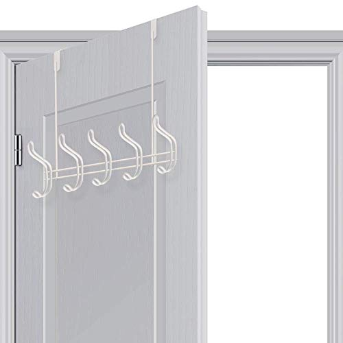 Over Door Hook - 5 Coat Hooks Pegs - No Drill Towel Rack for Bathroom Storage Closet - Behind The Door Organizer Clothes Rack - Shoe Or Hat Holder - Office Cubicle Purse Hanger - Brick White by TAIDOU (Image #6)
