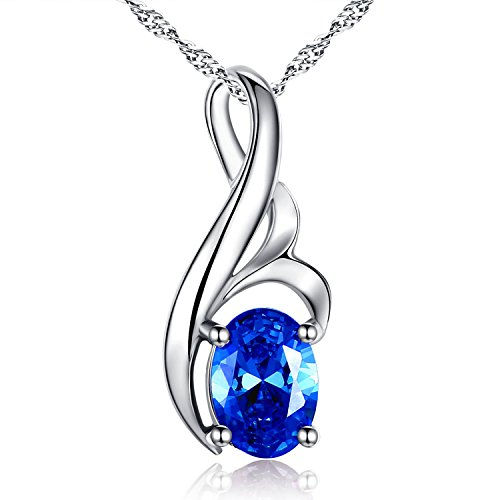 MABELLA Sterling Silver Birth Month Necklace Simulated Blue Sapphire Pendant Mother's Day Gifts for Women