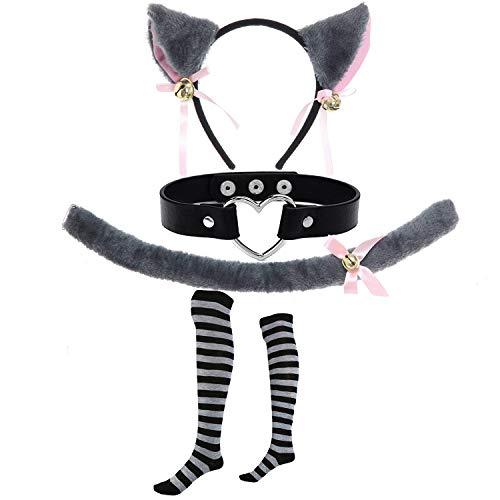 c Cosplay Set - Kitten Tail,Cat Headband w/Ears,Kitten Choker Necklace,Long Striped Socks (OneSize, Grey) ()