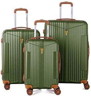 Murino IOA - Juego de 3 maletas, 2 tamaños, 1 tamaño cabina, plástico ABS rígido, color caqui