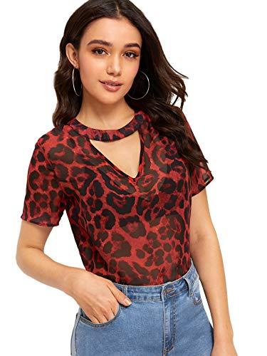 SweatyRocks Women's Short Sleeve T Shirt Semi Sheer Choker V Cut Leopard Blouse Red X-Small
