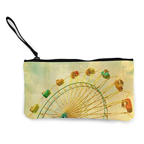 Oomato Canvas Coin Purse Ferris Wheel Green Cosmetic Makeup Storage Wallet Clutch Purse Pencil -