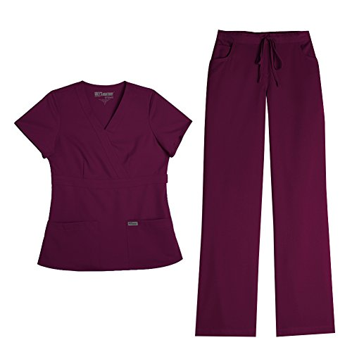 Grey's Anatomy Women's Mock Wrap Top 4153 & Drawstring Pant 4232 Scrub Set (Wine - Small/X-Small)
