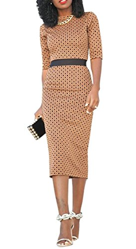 Midi Half Printed Womens Sleeve Bodycon Jaycargogo Sexy Coffee Dress Party IxApw0xq5