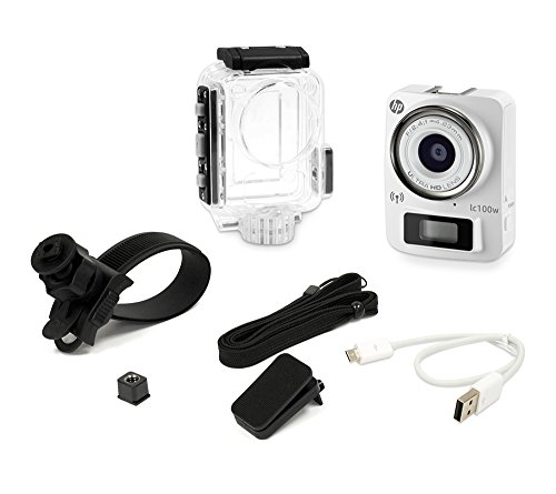 HP Life Cam (lc100w) Mini 4k Full HD 1080p Water Resistant Camera with Waterproof Case, White (HPD-LC100W-VP)