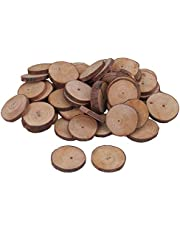 RDEXP 3cm-4cm Dia Natural Pine Wood Unfinished Round Discs Tree Bark Wooden Circles for DIY Crafts Set of 50