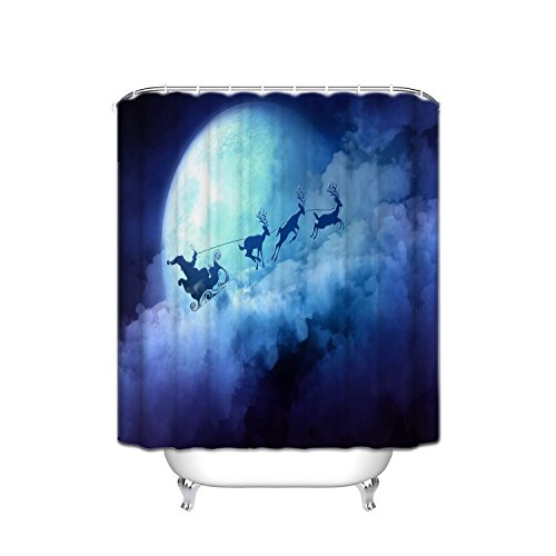 Winter Wonderland Decoration Santa Sleigh Reindeer, Polyester Fabric Bathroom Shower Curtain Set With Hook, 36X72 Inch, Blue White