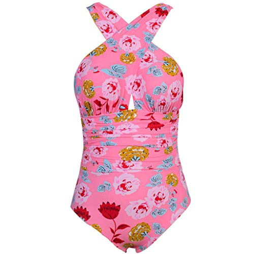 (Hurrybuy Swimwear Womens Monokini Swimsuits Sexy Cross Lace Up Low Back Print One Piece Bathing Suits Pink)