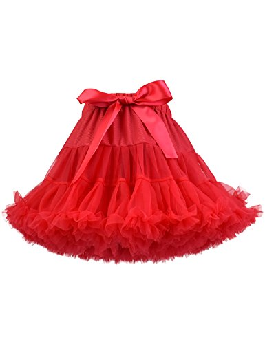 Baby Girl's Fluffy Tutu Skirt Toddler Tulle Birthday Party Tiered Princess Tutu Pettiskirt Red 8-10 Year]()