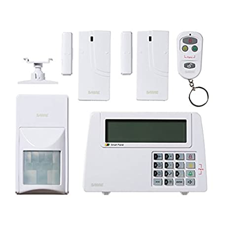 SABRE Home Expandable Wireless Burglar Alarm Security System - Includes Motion Door and Window Sensors LCD Touch Screen Display and Remote Control Key ...