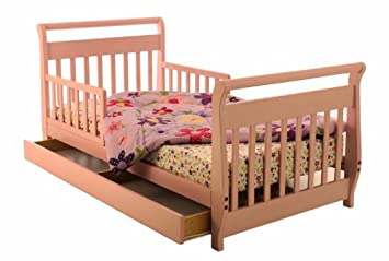 Amazoncom Dream On Me Toddler Bed With Storage Drawer Pink