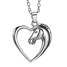 Heart Pendant Necklace by Luvalti - Horse Heart Jewelry - Family and Friends Jewelry Gift