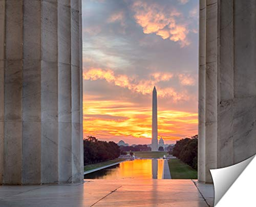 Ashley Giclee Brilliant Sunrise Over Reflecting Pool Dc Wall Art Heavy thich Museum Grade Artist Paper, Poster Artwork Ready to Frame, 20x25 Print