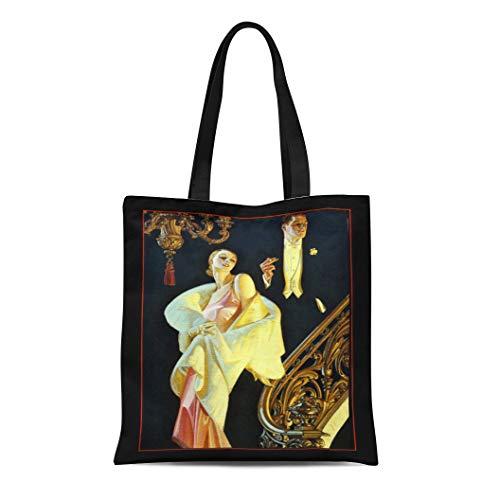 Semtomn Cotton Line Canvas Tote Bag Leyedecker Vintage By Jc Leyendecker Artists American Magazine Flapper Reusable Handbag Shoulder Grocery Shopping Bags