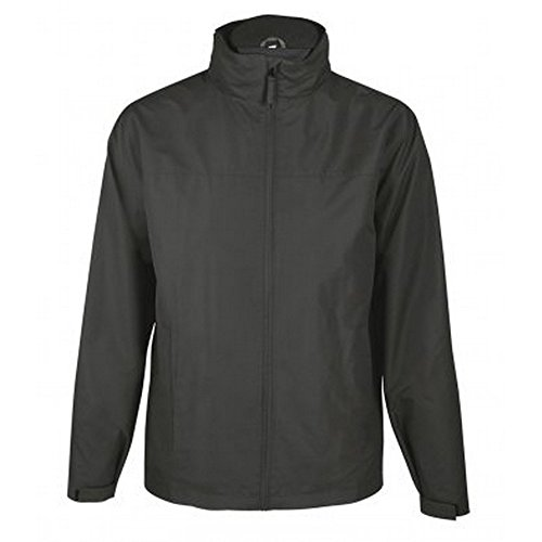 SOLS Mens Score Waterproof Full Zip Windbreaker Jacket (M) (Charcoal) Black Score Full Zip Fleece
