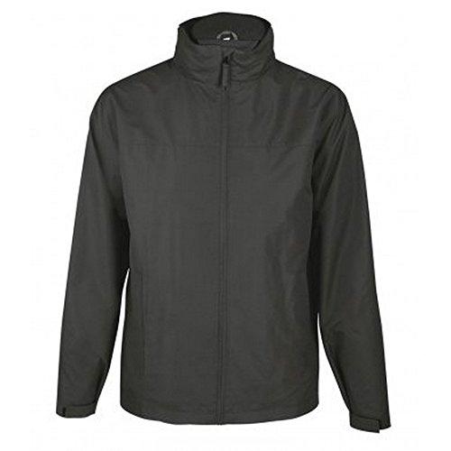 SOLS Mens Score Waterproof Full Zip Windbreaker Jacket (M) (Charcoal) Black Score Full Zip Fleece