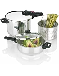 Fagor Splendid 2-by-1 Multi-Use 5-Piece Pressure Cooker Set, Stainless Steel - 918060803