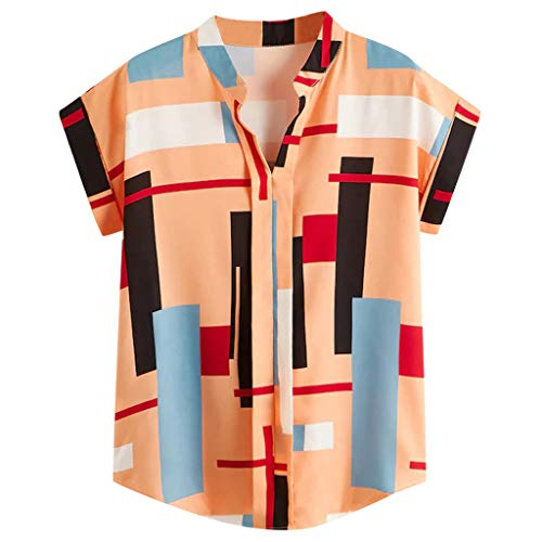 Yoke Cutwork - TUSANG Woman Tees Summer Fashion V-Neck Print New Loose Short Sleeve T-Shirt Slim Fit Comfy Tunic(Orange,US-4/CN-S)