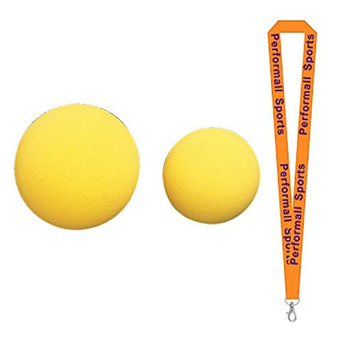 Champion Sports Rhino Skin Uncoated Foam Ball Yellow (Set of 5) Bundle with 1 Performall Lanyard RS27-5P by Champion Sports