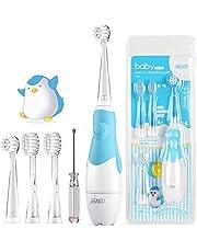 SEAGO SG-513 Elektrische tandenborstel voor kinderen van 6 maanden tot 4 jaar, ultrasone tandenborstel met led-licht, slimme timer, waterdicht IPX7 wordt geleverd met 4 verwisselbare borstelkopjes, baby-kindertandenborstel