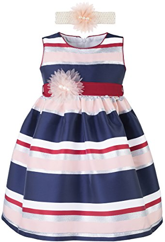 [Lilax Little Girls' Colorful Stripe Toddler Pageant Easter Dress Gown with Headband 4T Navy] (Princess Outfit Ideas)