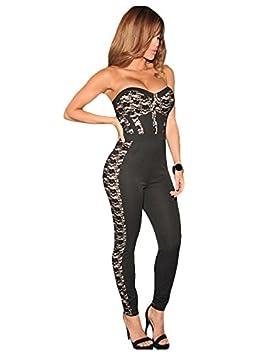 Mujer Nude y negro encaje ilusión Jumpsuit Body Catsuit Club Wear TAMAÑO M UK 8 –