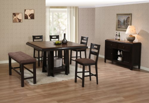 Price comparison product image Counter High Table with Butterfly Leaf in Groove Line Walnut Grid Pattern Veneer Table Top AD 91650