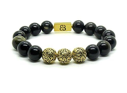 Golden Shimmer Obsidian and Antique 22 Karat Gold Beads Bracelet, Men's Obsidian Bracelet ()