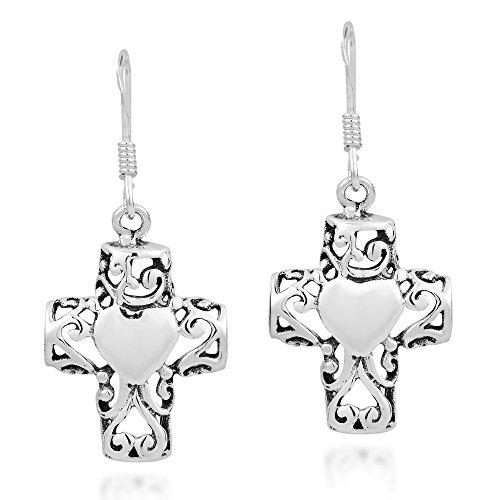 - Filigree Cross Sweet Swirl Heart .925 Sterling Silver Dangle Earrings