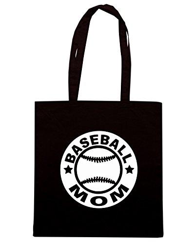 T-Shirtshock - Bolsa para la compra FUN0704 baseball mom circular diecut vinyl decal 08939 Negro