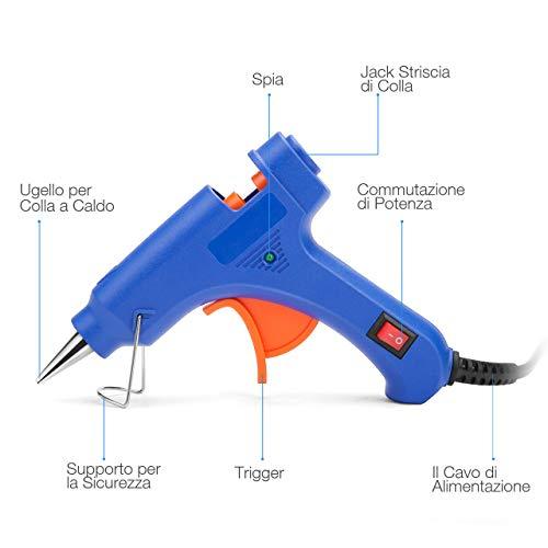 Powerextra Mini 20W Pistola per Silicone Calda - Pistola per Colla con 50 pezzi di Bastoncini Artigianali fai da te Riparazioni Domestiche Riparazioni d'arte Decorazione per Festival