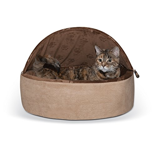 K&H Pet Products Self-Warming Kitty Bed Hooded Large Chocolate/Tan 20