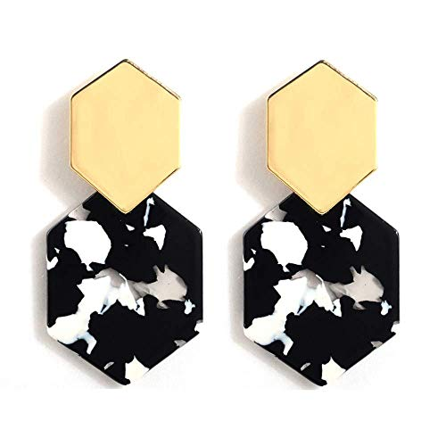 TULIP LY Acrylic Earrings Statement Drop Dangle Earrings Gold Bohemian Hoop Earring Mottled Geometric Circle Resin Stud Earrings for Women Girls Fashion Jewelry (Rhombus Black/White Earring) ()