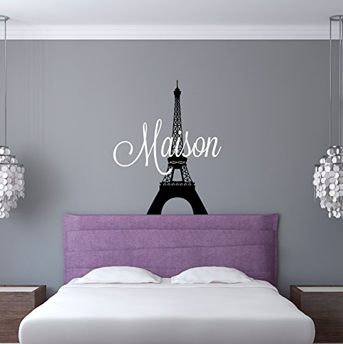 Custom Name Paris Wall Decal - Girls Personalized Name Eiffe