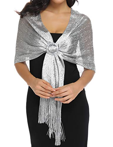 Shawls and Wraps for Evening Dresses, Metallic Dark Grey Silver