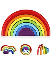 Coogam Wooden Rainbow Stacking Game Color Shape Nesting Building Blocks Creative Matching Jigsaw Puzzle Game Learning Toy Set Geometric Board Toddler Early Development Gift for Kids Boys Girls Toddler