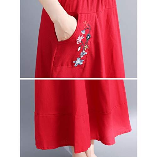 Borsa Navy Gonna Vita color In M Lino Tubino Ricamo E Alta Red Cotone Pantaloni Size Per Olprkgdg A x0w1nqfw6