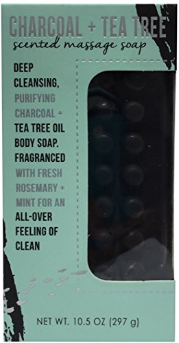 CST Commonwealth Soap Toiletries Charcoal Tea Tree Infused Rosemary Mint Scented Purifying Massage Cleanser Bath Bar 10.5 Ounce -