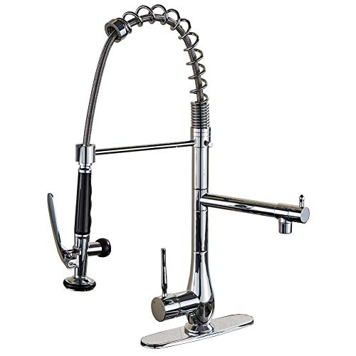 Votamuta Commercial Style Single Handle Pull-Down Kitchen Sink Faucet with Sprayer,Chrome Finish