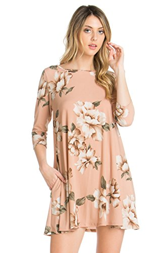 4 Pocket Mauve Hd7659skaq Side 3 Sleeve Tunic Women's Line Cody Dress Line Comfy Print A 4qg60txn