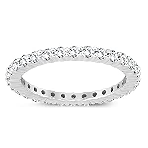 Szul AGS Certified 1 Carat TW Diamond Eternity Band in 10K White Gold (K L Color, I2 I3 Clarity)