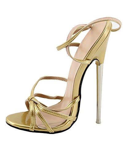 WONDERHEEL Stilleto Metal Heel Ankle Strap Patent Fetish Women Sandalen Gold