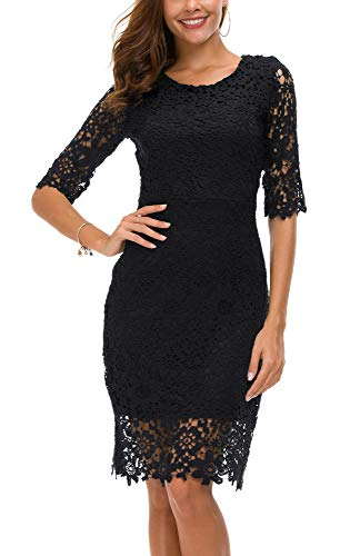 Urban CoCo Women's Lace Sheath Dress Slim Fit Midi Dress (S, Black)
